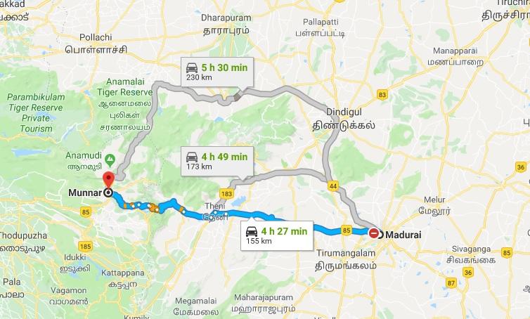 madurai-munnar-road-map